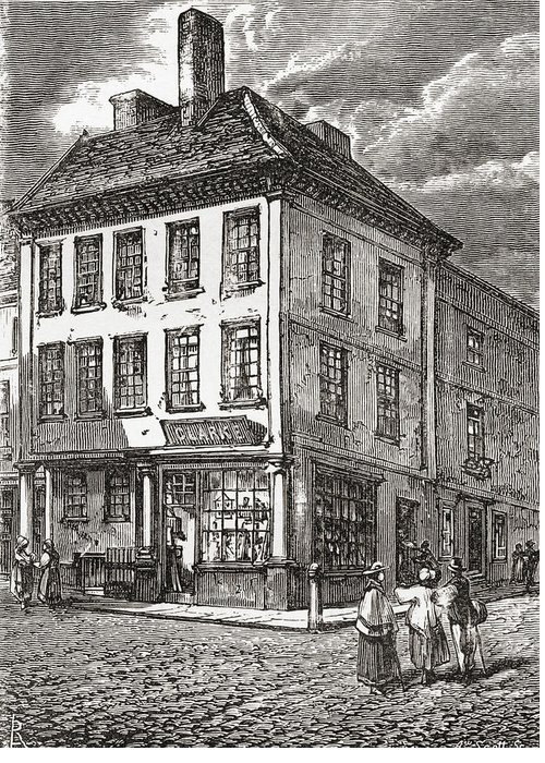 Samuel Greeting Card featuring the drawing Dr. Samuel Johnson S Birthplace In by Vintage Design Pics