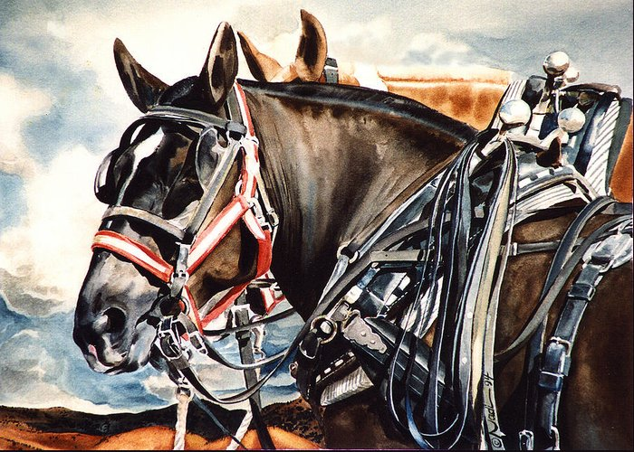 Horse Greeting Card featuring the painting Draft Mules by Nadi Spencer