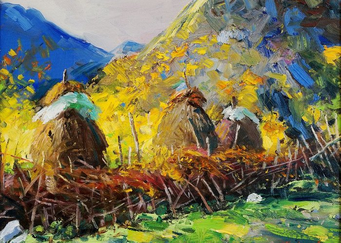 Landscape Greeting Card featuring the painting Dragobia Of Legends, Valbona by Sefedin Stafa