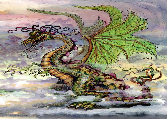Dragon Greeting Card featuring the painting Dragon by Kevin Middleton