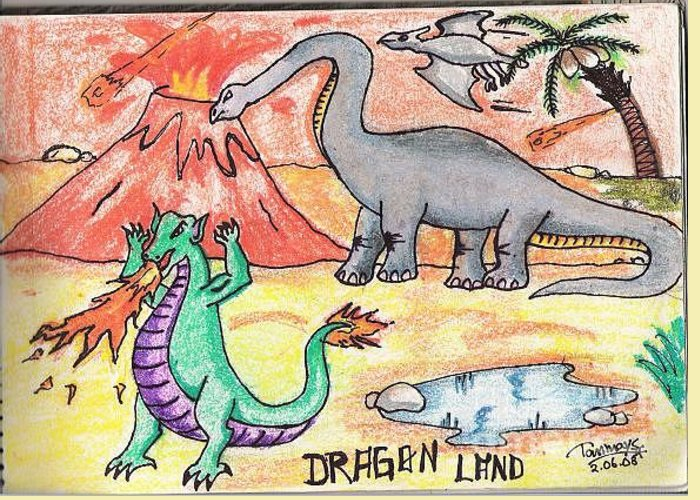 Dianosor Greeting Card featuring the painting Dragon Land by Tanmay Singh