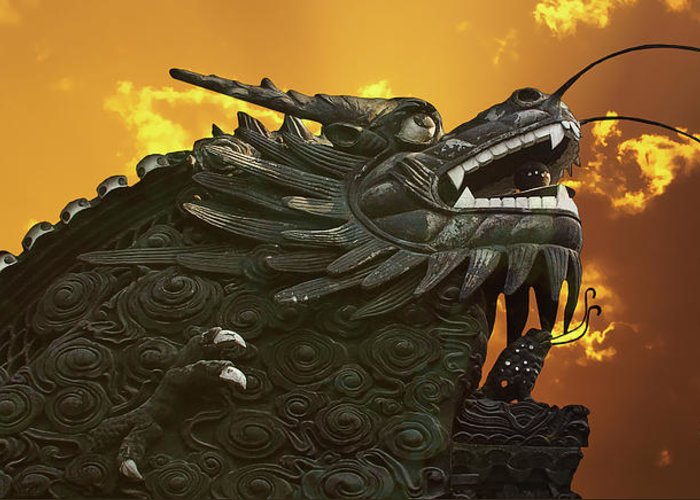 Walls Greeting Card featuring the photograph Dragon Wall - Yu Garden Shanghai by Christine Till
