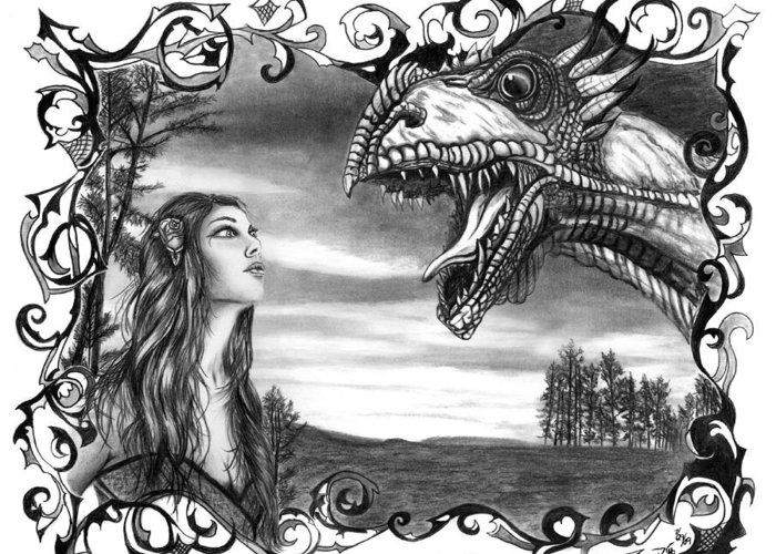 Dragon Whisperer Greeting Card featuring the drawing Dragon Whisperer by Peter Piatt