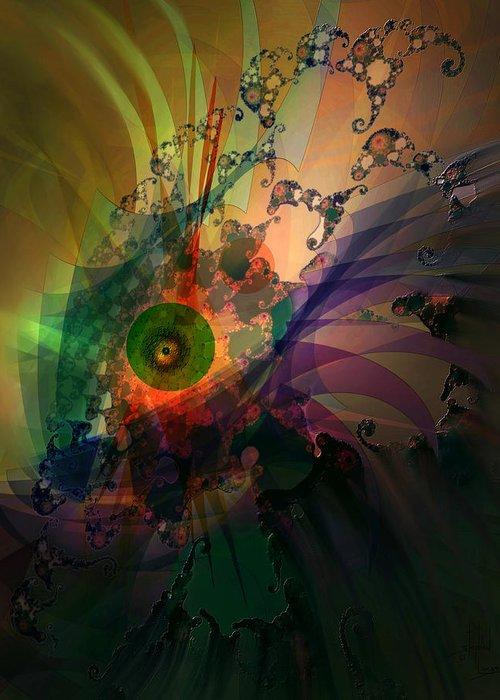 Dragon Greeting Card featuring the digital art Dragon Wisdom Eye by Stephen Lucas