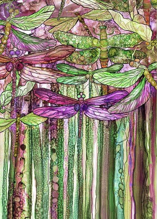 Carol Cavalaris Greeting Card featuring the mixed media Dragonfly Bloomies 2 - Pink by Carol Cavalaris