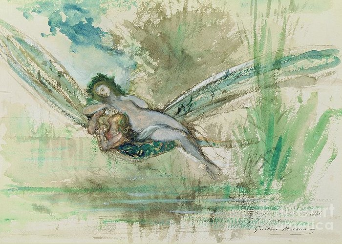 Dragonfly Greeting Card featuring the painting Dragonfly by Gustave Moreau