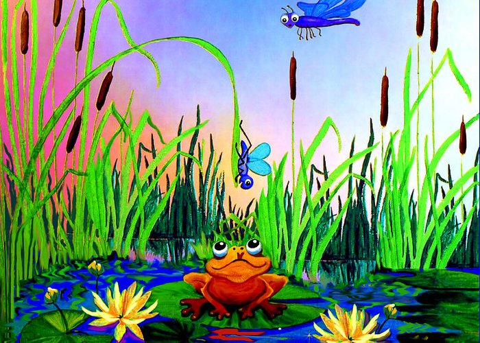 Preschool Wall Mural Greeting Card featuring the painting Dragonfly Pond by Hanne Lore Koehler