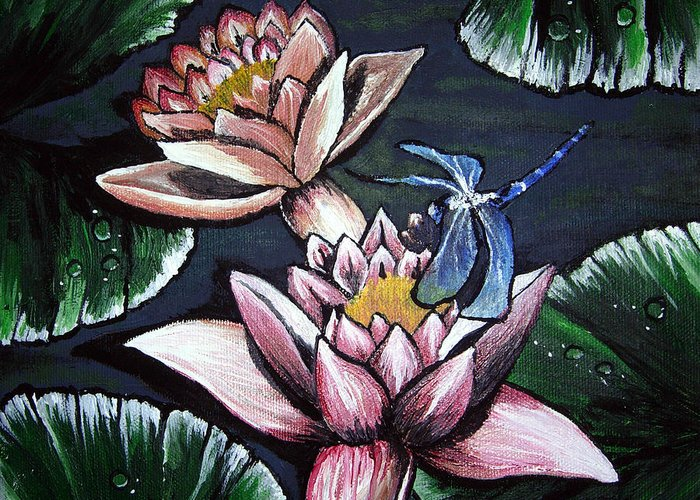 Dragonfly Greeting Card featuring the painting Dragonfly Pond by Sharon Supplee