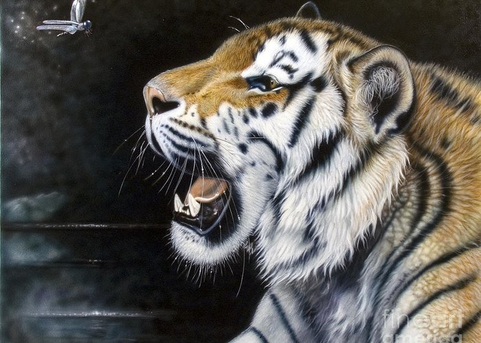 Tiger Greeting Card featuring the painting Dragonfly by Sandi Baker