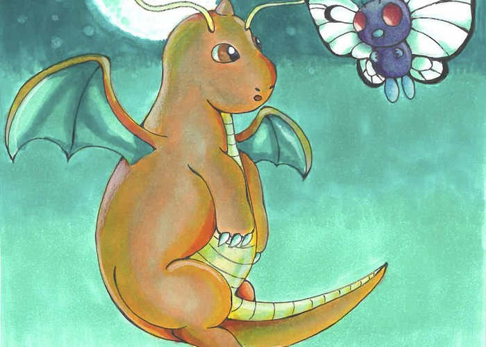 bb25c9844 Dragonite And Butterfree Pokemon Flying By The Moon Greeting Card featuring  the drawing Dragonite And Butterfree