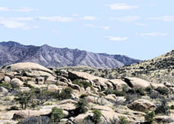 Photography Greeting Card featuring the photograph Dragoon Mountains Panorama by Sharon Broucek