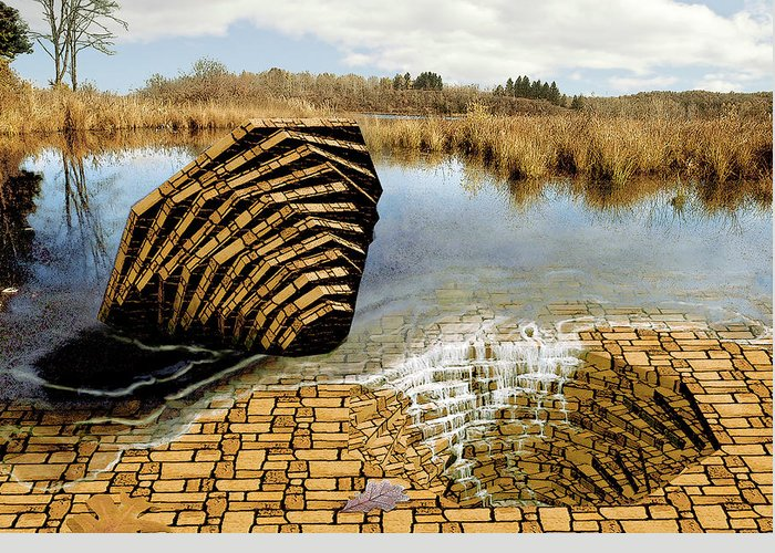 Drain Greeting Card featuring the digital art Drain - Mendon Ponds by Peter J Sucy