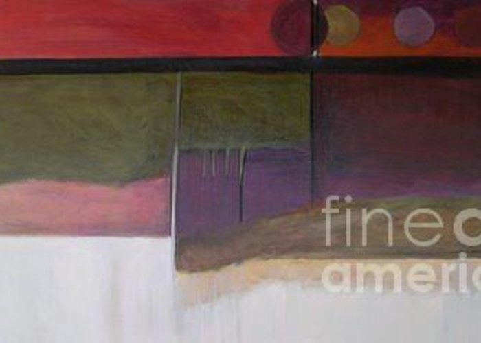 Abstract Greeting Card featuring the painting Drama Too Diptych 1 by Marlene Burns