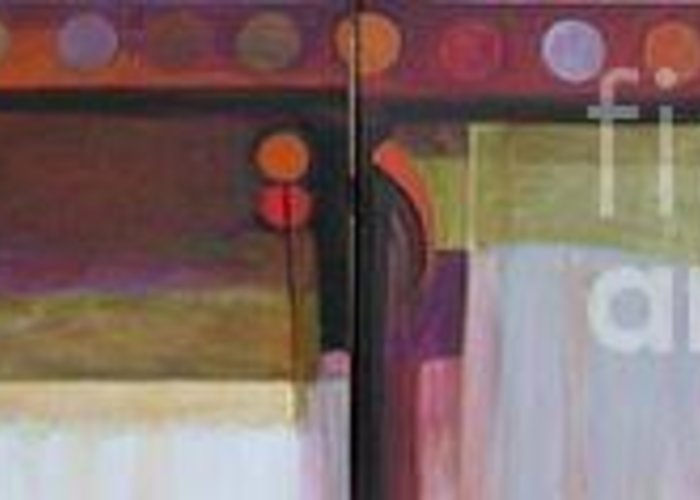 Abstract Greeting Card featuring the painting Drama Too Diptych by Marlene Burns