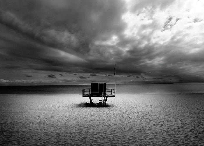 Beach Greeting Card featuring the photograph Dramatic Beach by Marc Huebner