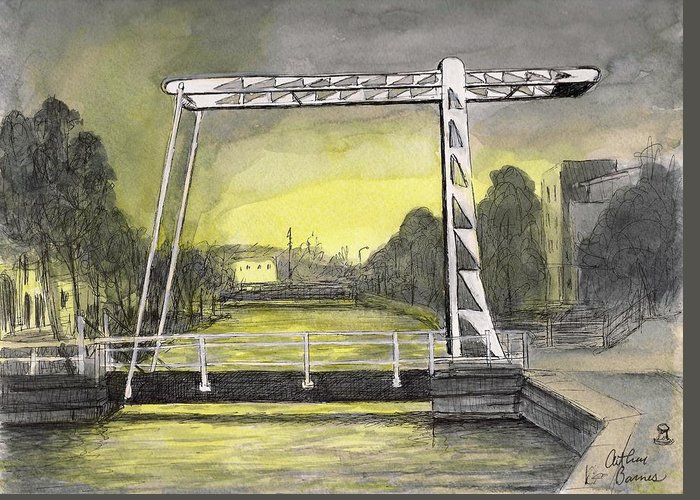 Holland Greeting Card featuring the painting Draw Bridge In Meppel, Holland 2016 by Arthur Barnes
