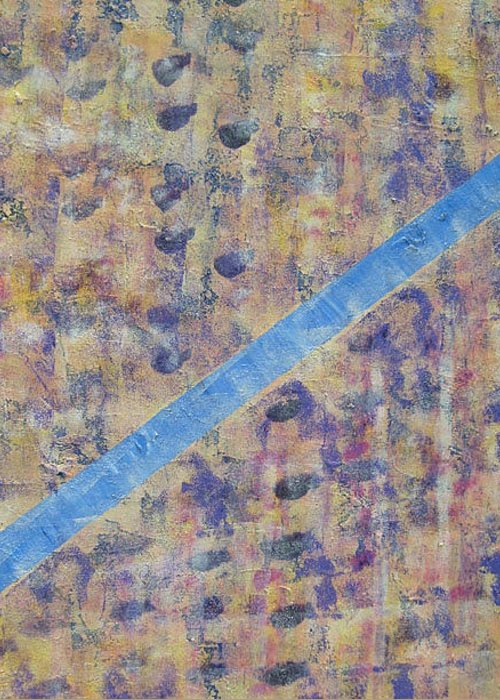 Abstract Greeting Card featuring the painting Draw The Line by Shirley anne Dunne