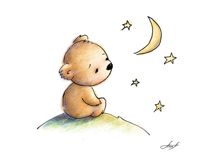 Drawing Of Cute Teddy Bear Watching The Star Greeting Card For Sale