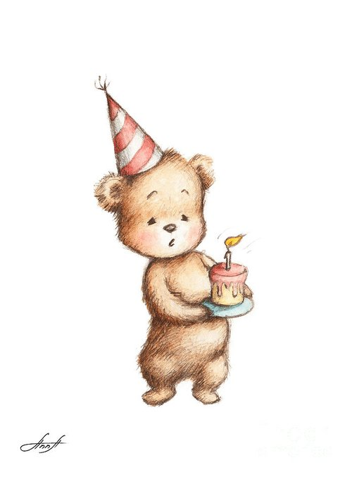 Birthday Greeting Card Featuring The Painting Drawing Of Teddy Bear With Cake By Anna Abramska