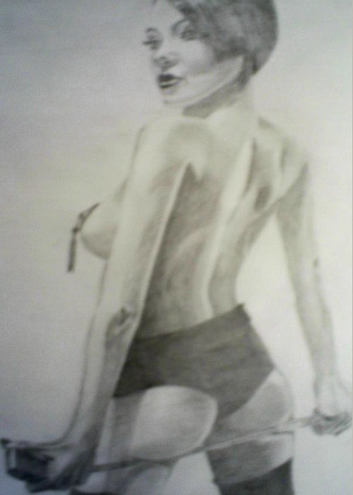 Model Greeting Card featuring the drawing drawing of Vikki Blows by James Dolan