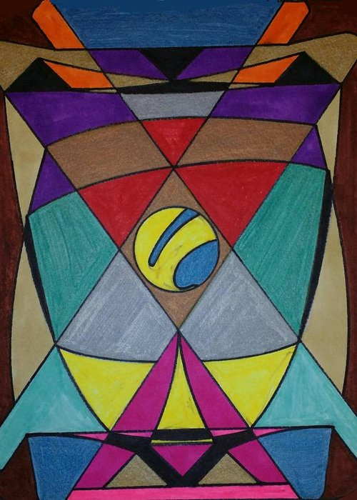 Geometric Art Greeting Card featuring the glass art Dream 78 by S S-ray