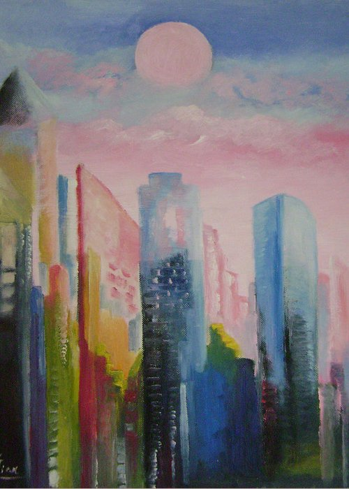 Abstract Greeting Card featuring the painting Dream City No.1 by Lian Zhen