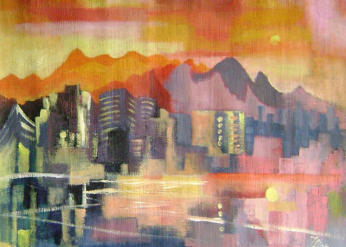 Abstract Greeting Card featuring the painting Dream City No.3 by Lian Zhen