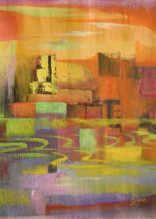 Abstract Greeting Card featuring the painting Dream City No.4 by Lian Zhen