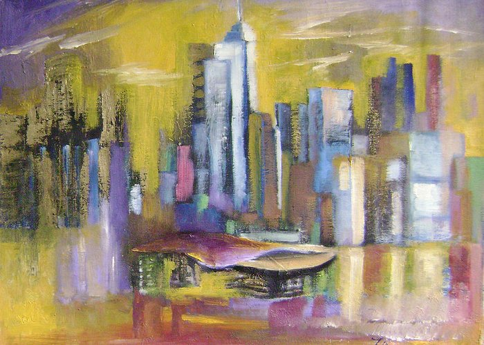 Imaginative Greeting Card featuring the painting Dream City No.5 by Lian Zhen
