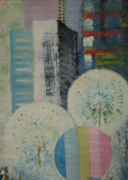 Landscape Greeting Card featuring the painting Dream City No.8 by Lian Zhen