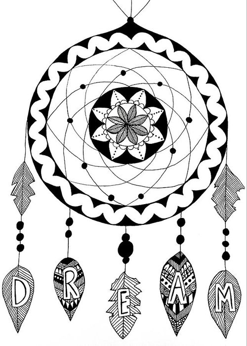 Dream Greeting Card featuring the drawing Dream In Black And White by Elizabeth Davis