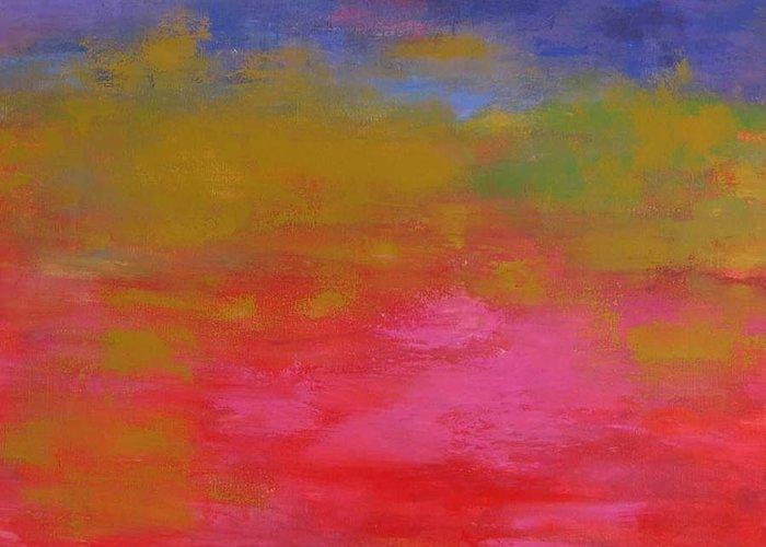 Vibrant Abstract Greeting Card featuring the painting Dream In Color by Linda Muir
