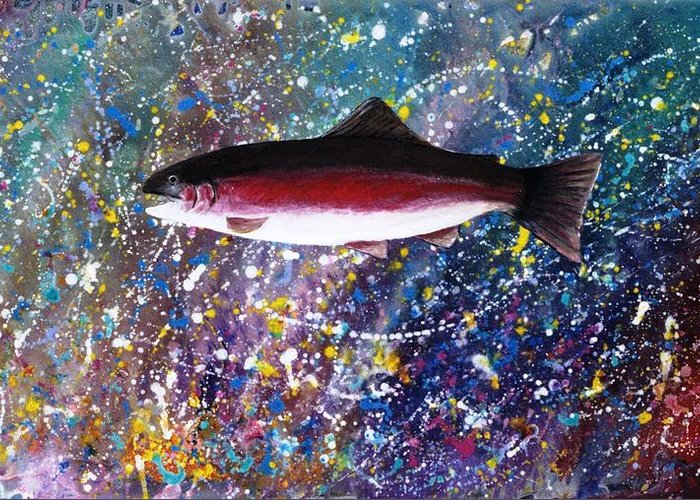 Spiritual Greeting Card featuring the painting Dream Of The Rainbow Trout by Lee Pantas