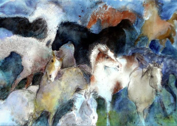 Horses Greeting Card featuring the painting Dream Of Wild Horses by Christie Martin