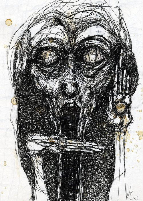 Face Greeting Card featuring the drawing Dream One by Mark M Mellon