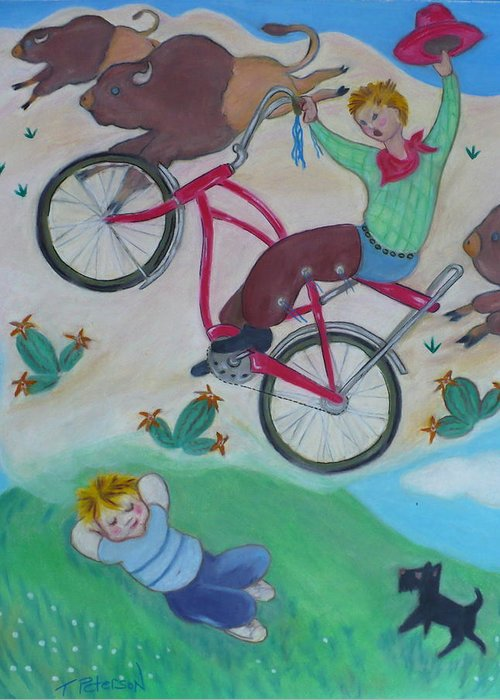 Children Greeting Card featuring the painting Dream Ride by Todd Peterson