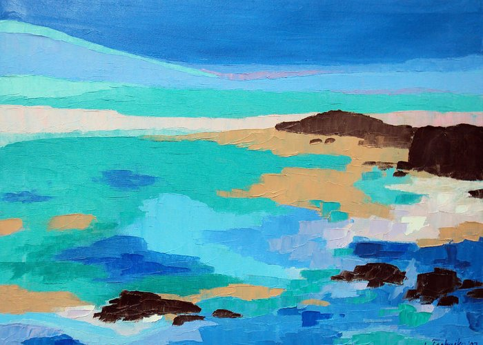 Maine Greeting Card featuring the painting Dream Scape 14 by Laura Tasheiko