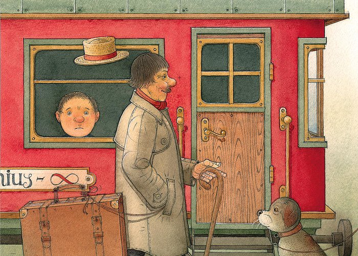 Dream Suitcase Train Trip Travel Greeting Card featuring the painting Dream Suitcase by Kestutis Kasparavicius