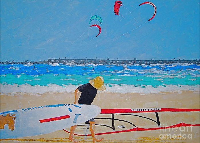 Beach Art Greeting Card featuring the painting Dreamer Disease V Ponce Inlet by Art Mantia