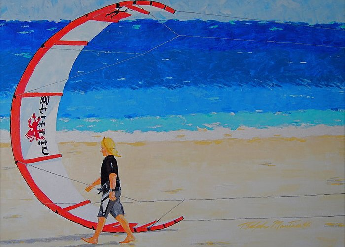 Beach Art Greeting Card featuring the painting Dreamer Disease Vi Water And Wind by Art Mantia