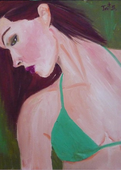 Figurative Greeting Card featuring the painting Dreamer by Irit Bourla