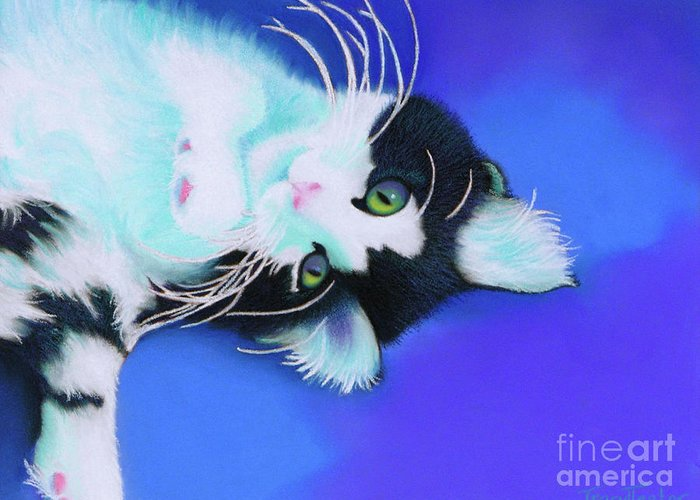 Cat Greeting Card featuring the pastel Dreamer by Tracy L Teeter