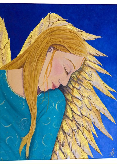 Painting Greeting Card featuring the painting Dreaming Angel by Jacqueline Lovesey