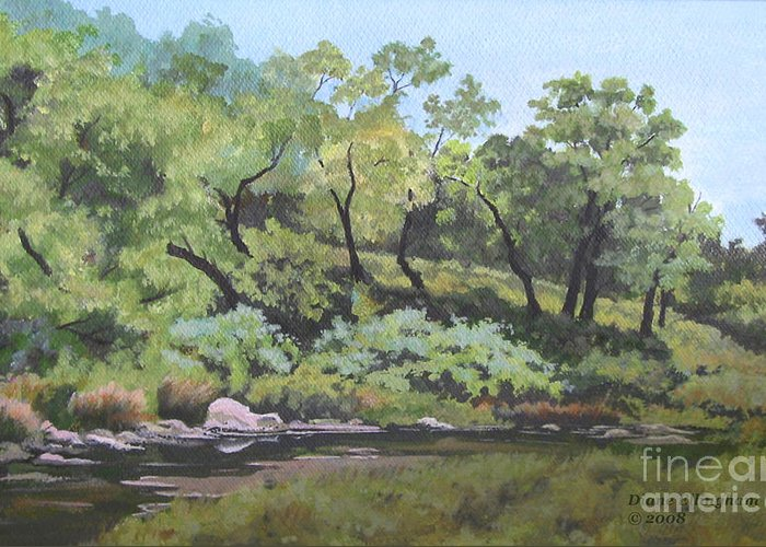 Nature Greeting Card featuring the painting Dreaming By The Creek by Diane Ellingham