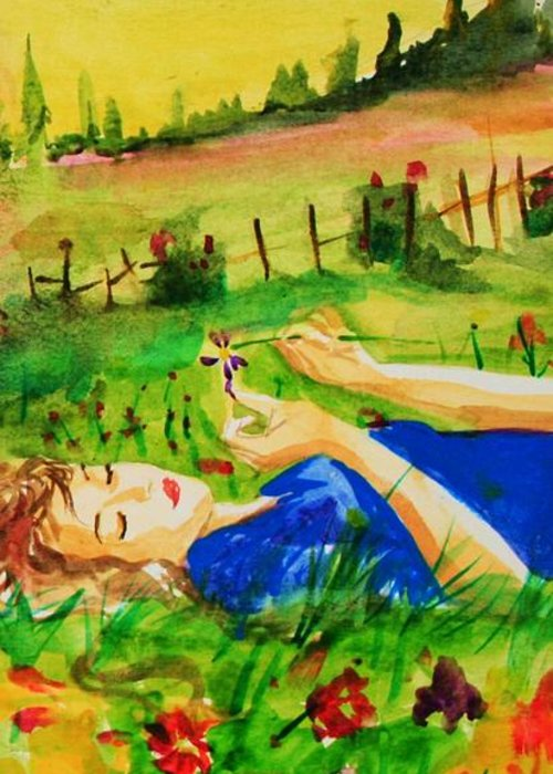Landscape Greeting Card featuring the painting Dreaming by Laura Rispoli