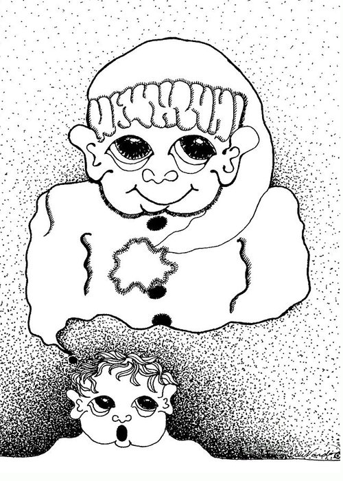 Design Greeting Card featuring the drawing Dreaming Of Santa by Joy Bradley