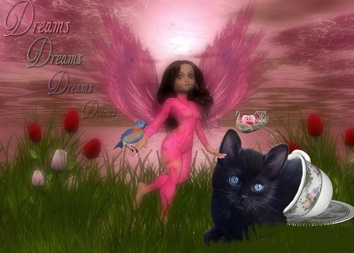 Fairy Greeting Card featuring the digital art Dreams by Morning Dew