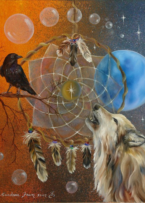 Wolf Greeting Card featuring the painting Dreams Made Easy by Sundara Fawn