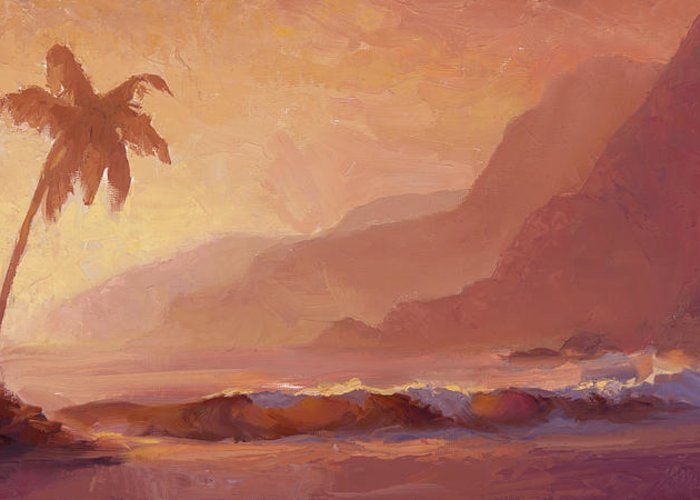 Hawaiian Palm Tree Landscape Greeting Card Featuring The Painting Dreams Of Hawaii