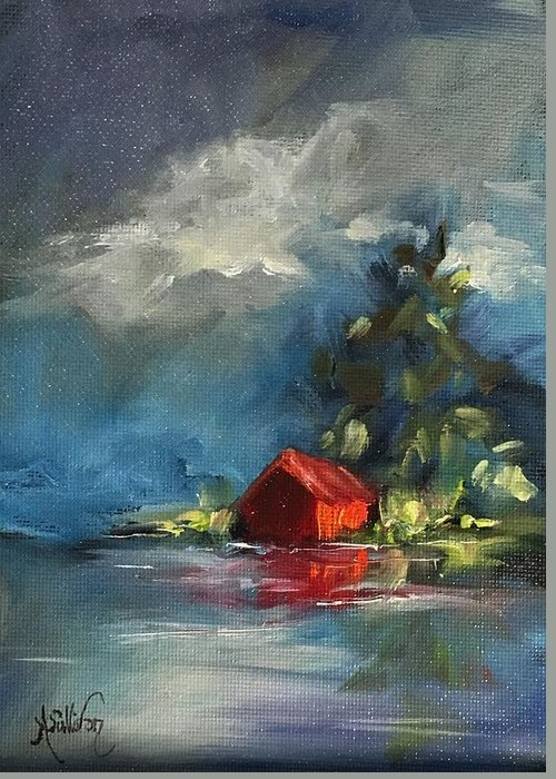 Barn Greeting Card featuring the painting Dreams Realy Do Come True by Angela Sullivan